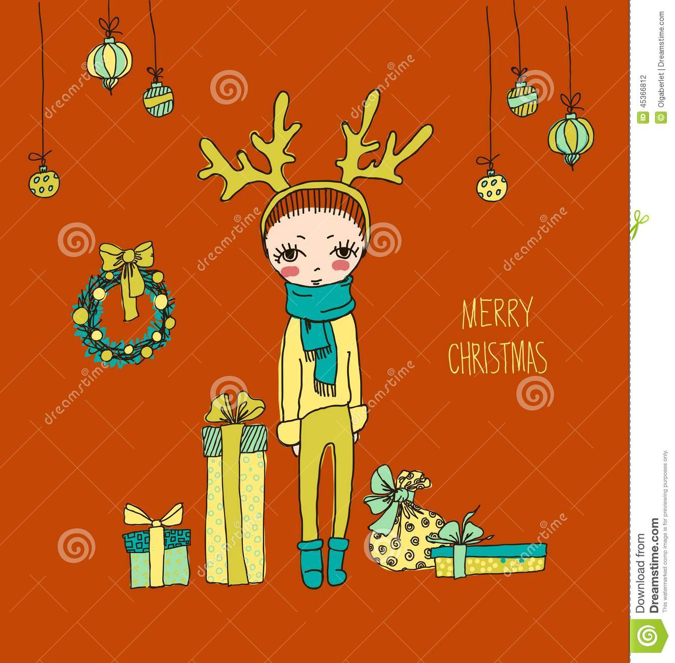 a7559c7d63628 Cute Christmas card in vector. Bright holiday background with small funny  angel in New Year toys in cartoon style. More similar stock illustrations