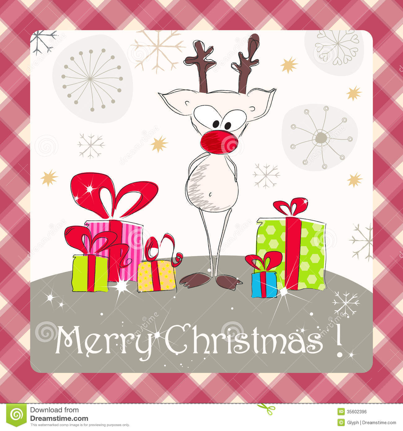 Cute Christmas Card Stock Vector Illustration Of Animal 35602396