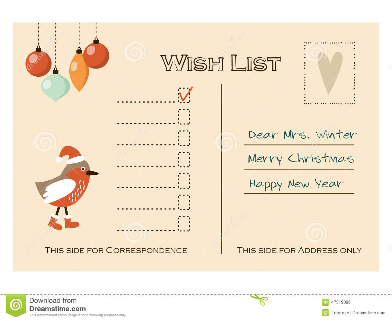 Cute Christmas Card, Wish List With Bird And Baubles, Stock Vector - Image: 47319088