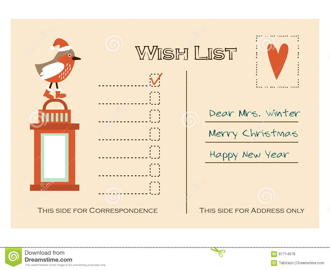Christmas Wish List Template Stock Vector Image 78478348