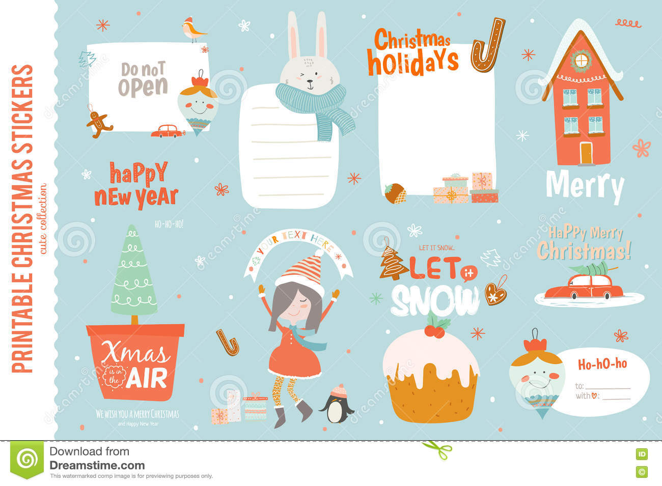 cute christmas cards labels and stickers with santa claus fox elf friends and a lot of holiday symbols lovely winter invitations in cartoon and