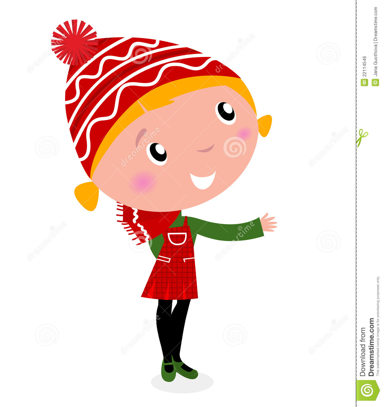 Cute Christmas Cartoon Girl In Red Costume Royalty Free Stock Image ...