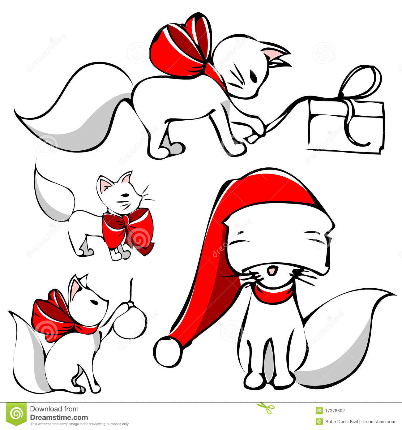 Cute christmas cat stock vector. Illustration of playful ...
