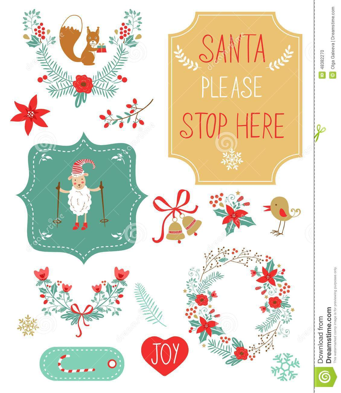 Cute Christmas Clipart Stock Illustration - Image: 48382270