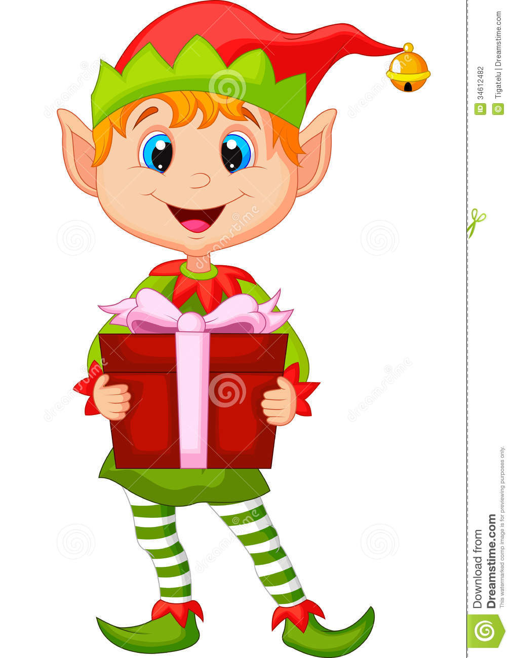 Cute Christmas Elf Cartoon Holding A Gift Stock Photography - Image ...