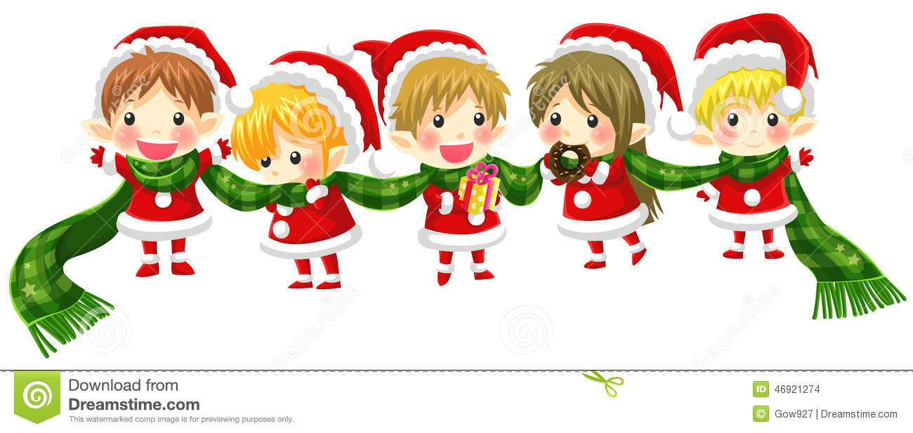 Cute Christmas Elves Tie Together With A Long Scarf (with No Bla ...