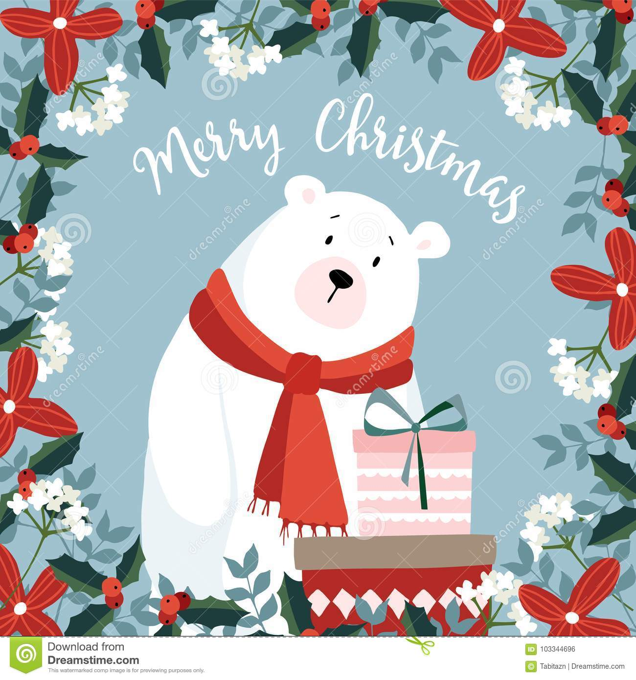 Christmas Wishes Bear.Cute Christmas Greeting Card Invitation With Hand Drawn