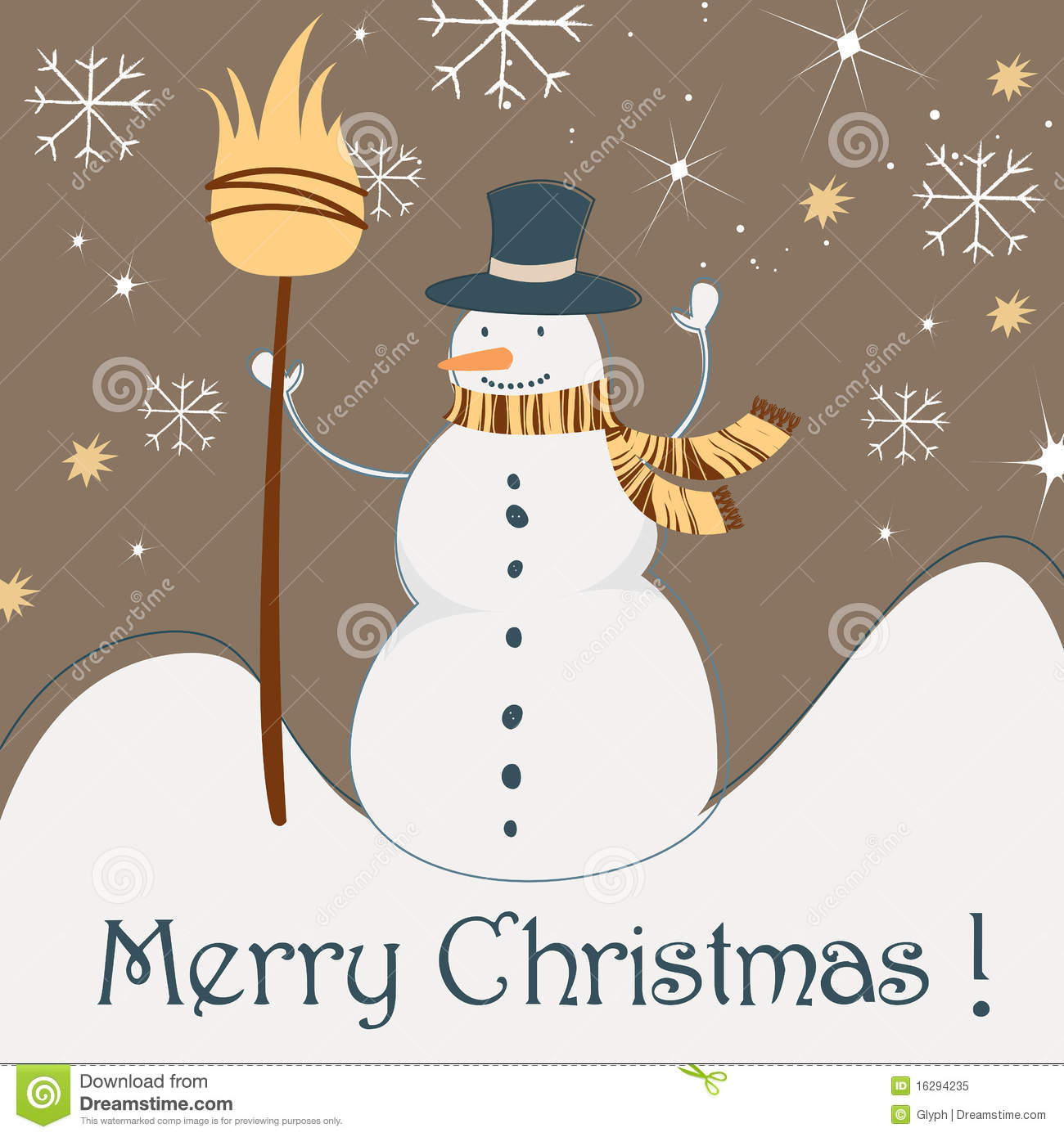 Cute Christmas Greeting Card With Snowman Stock Vector