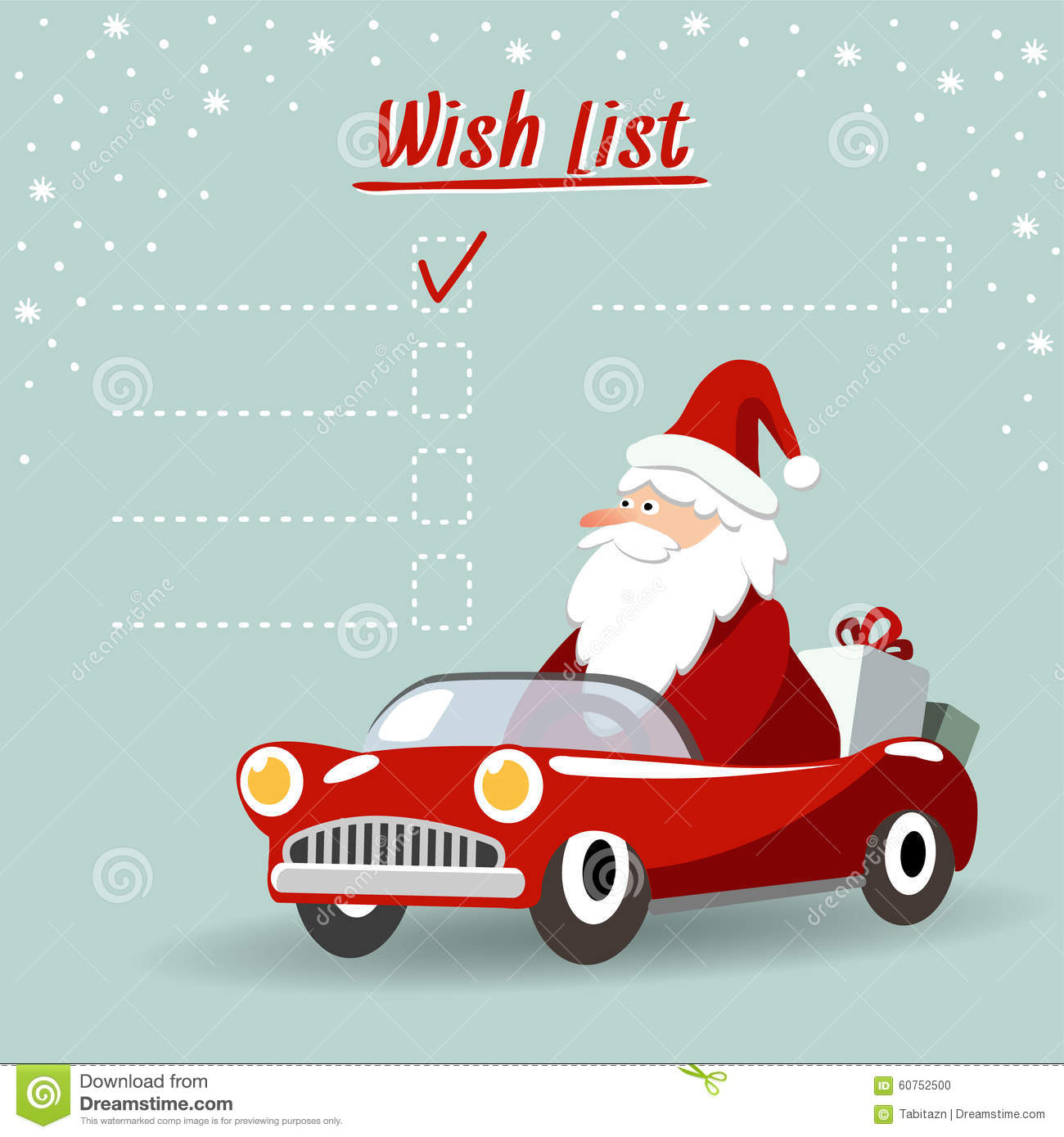 Christmas Sports Car.Cute Christmas Greeting Card Wish List With Santa Claus