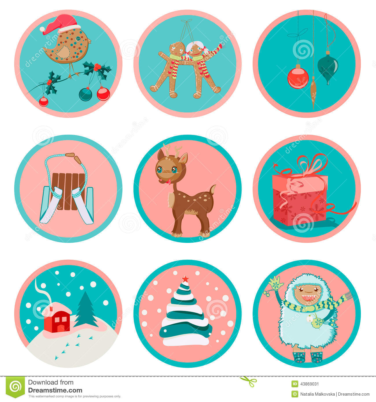 Cute Christmas Icons Stock Vector - Image: 43869031