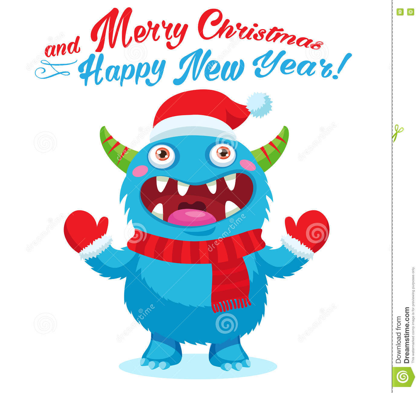 cute christmas monster vector card holiday cartoon mascot merry christmas happy new year