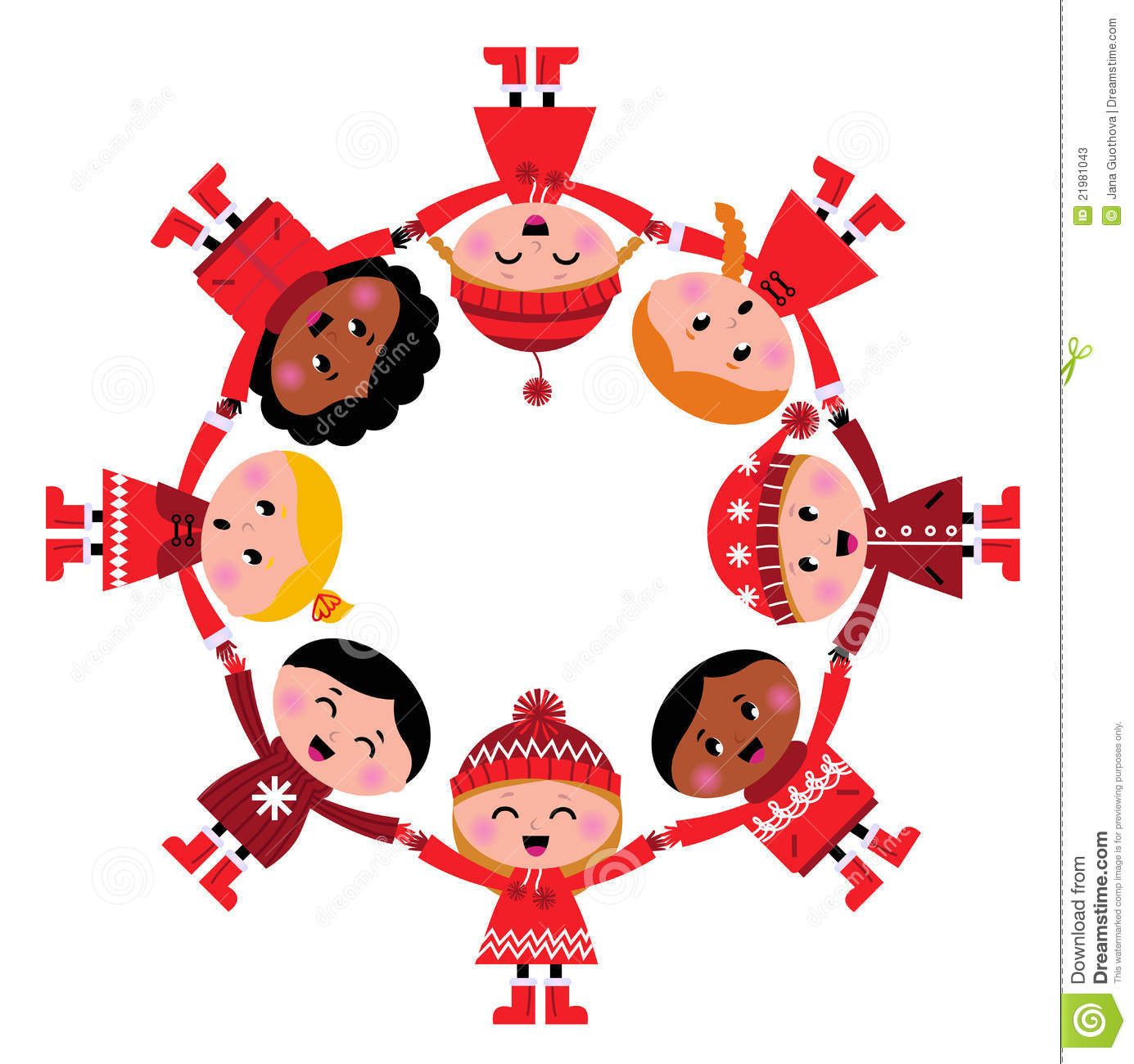 Cute Christmas Multicultural Children In Circle Stock Vector ...