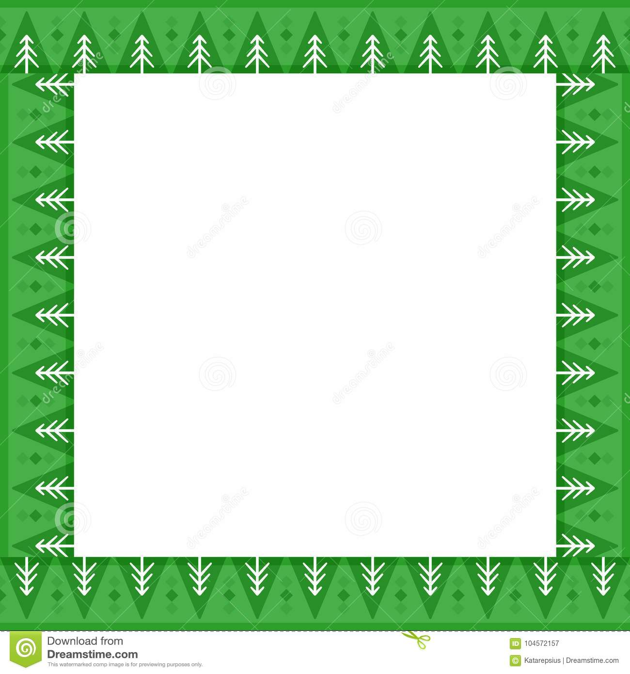 cute christmas or new year border with fir trees on green background