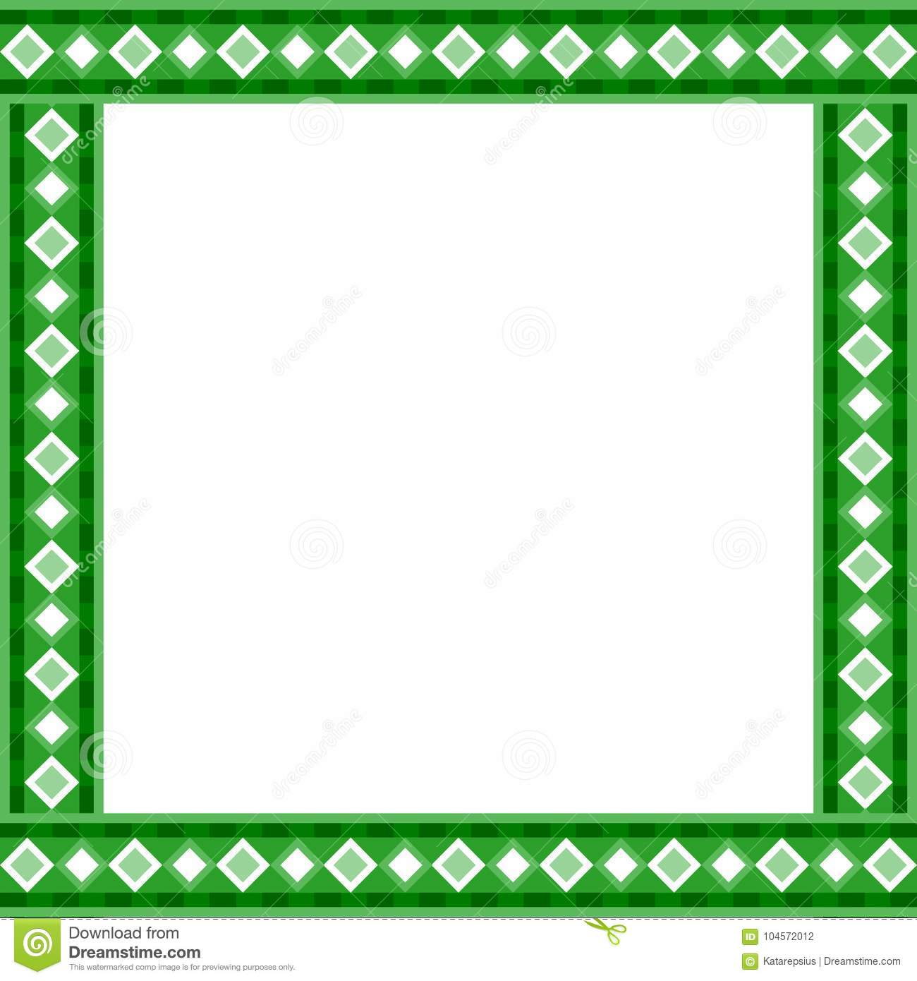 cute christmas or new year border with rhombus pattern on green background vector illustration frame template with copy space