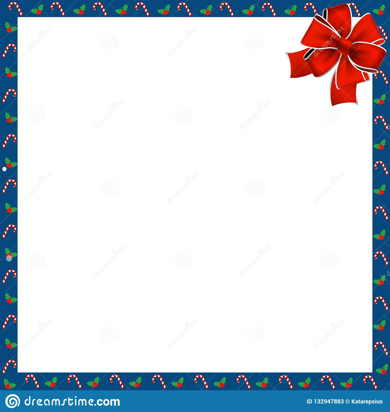 cute christmas or new year square border with candy cane berries pattern and red ribbon