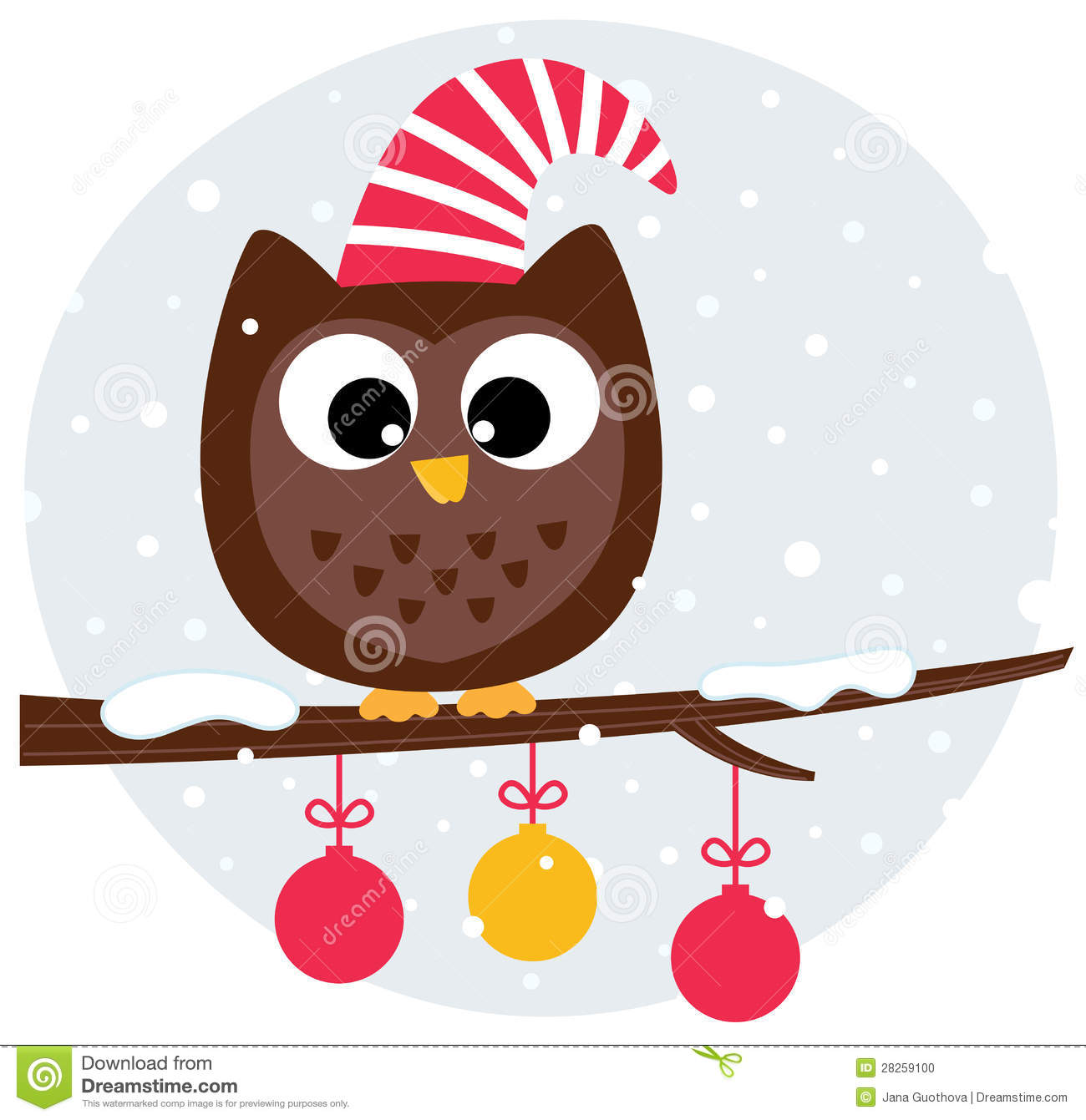 Cute Christmas Owl Sitting On The Branch Stock Photo - Image: 28259100