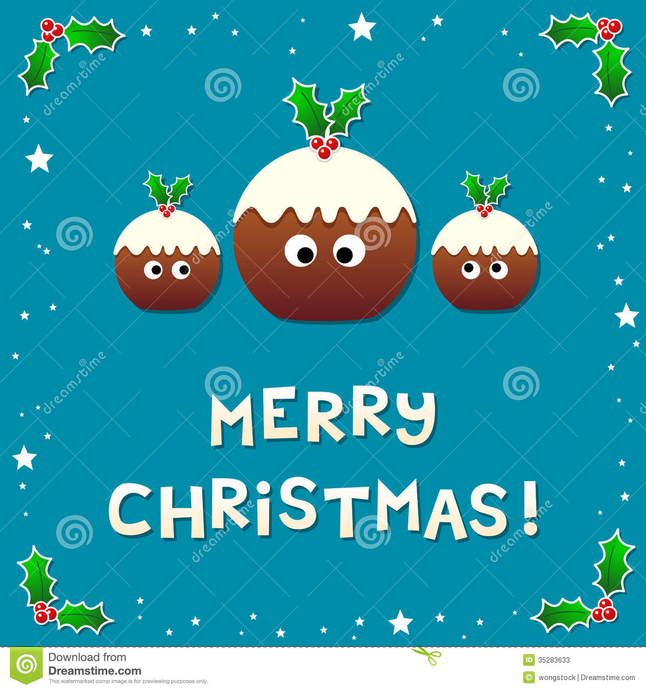 Cute Christmas Puddings Wishing A Merry Christmas Stock Vector ...