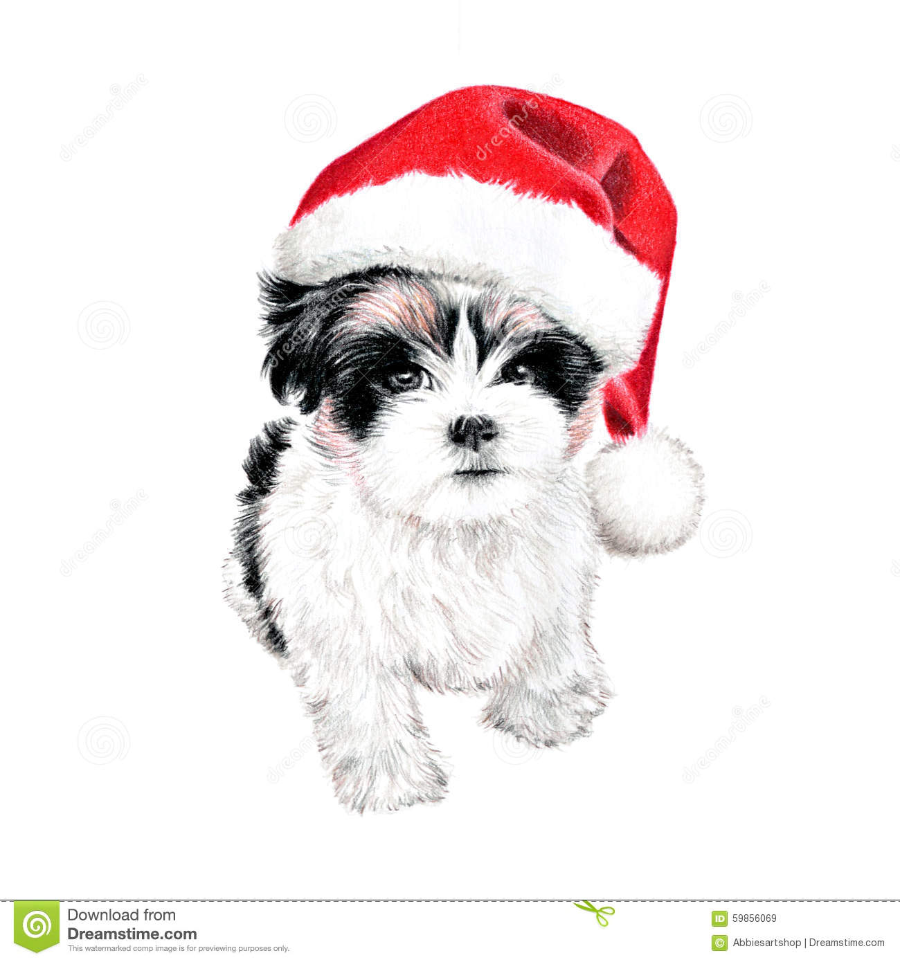 ... puppy dog with santa hat illustration. hand drawn colored pencil art