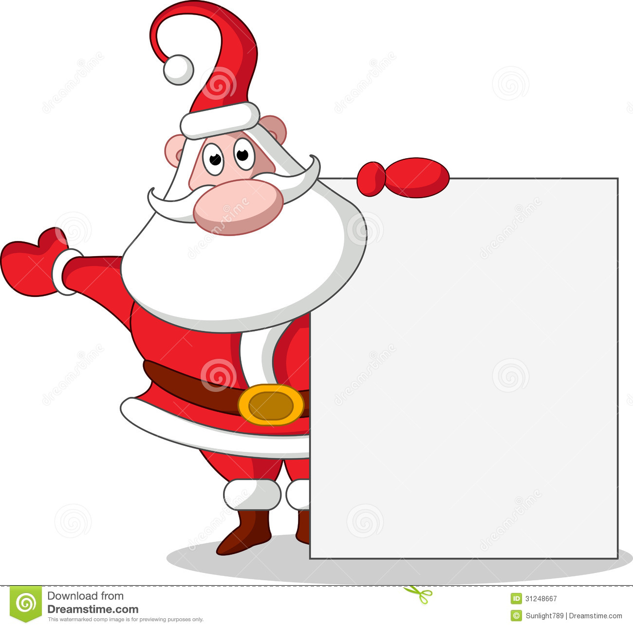 cute christmas santa claus with blank sign royalty free stock