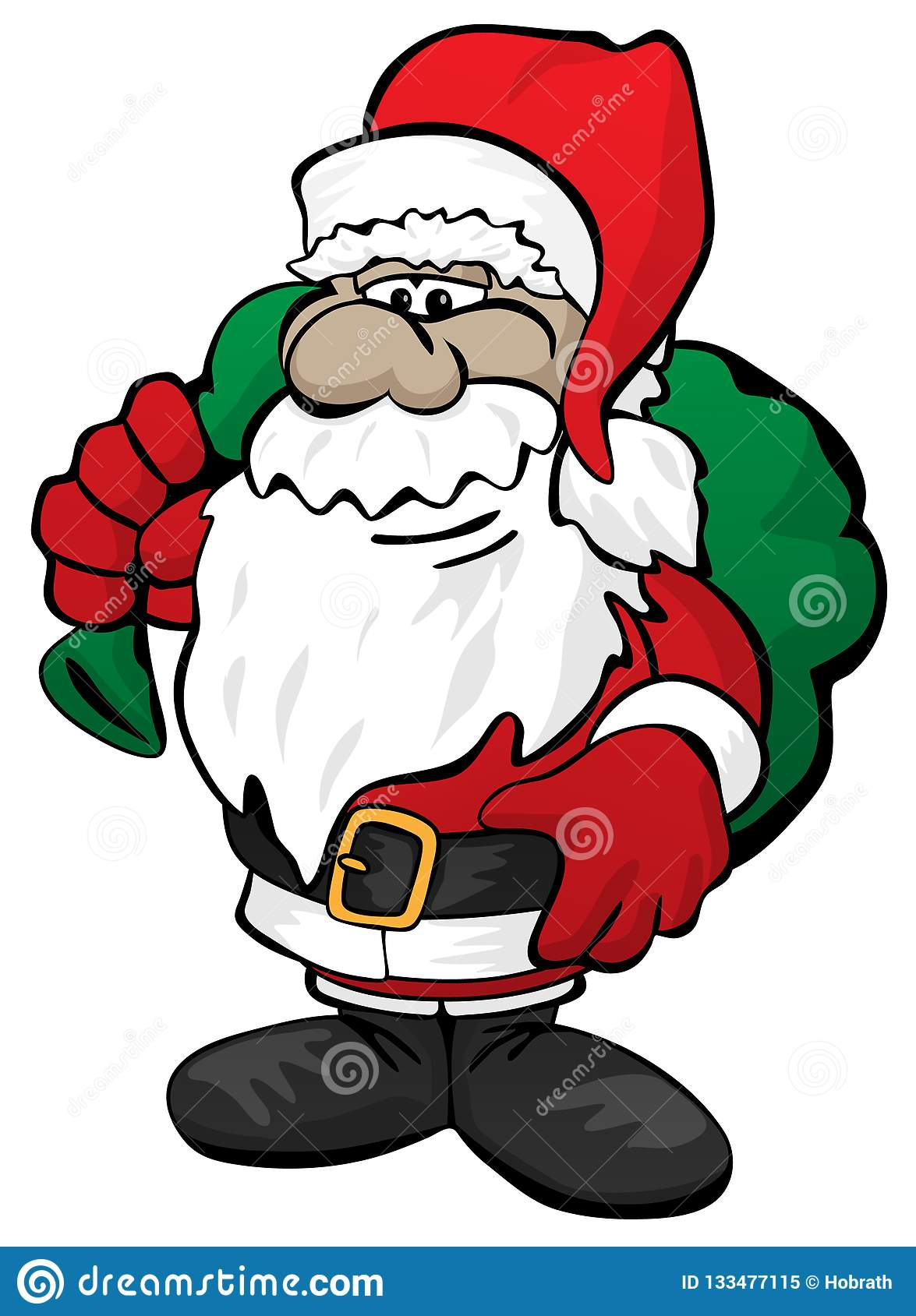 Cute Christmas Santa Claus with Toy Sack Cartoon Vector Illustration
