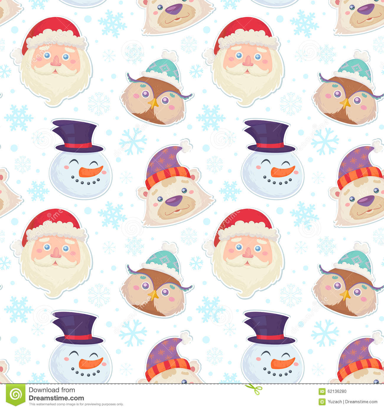 Cute Christmas Seamless Pattern With Characters Stock