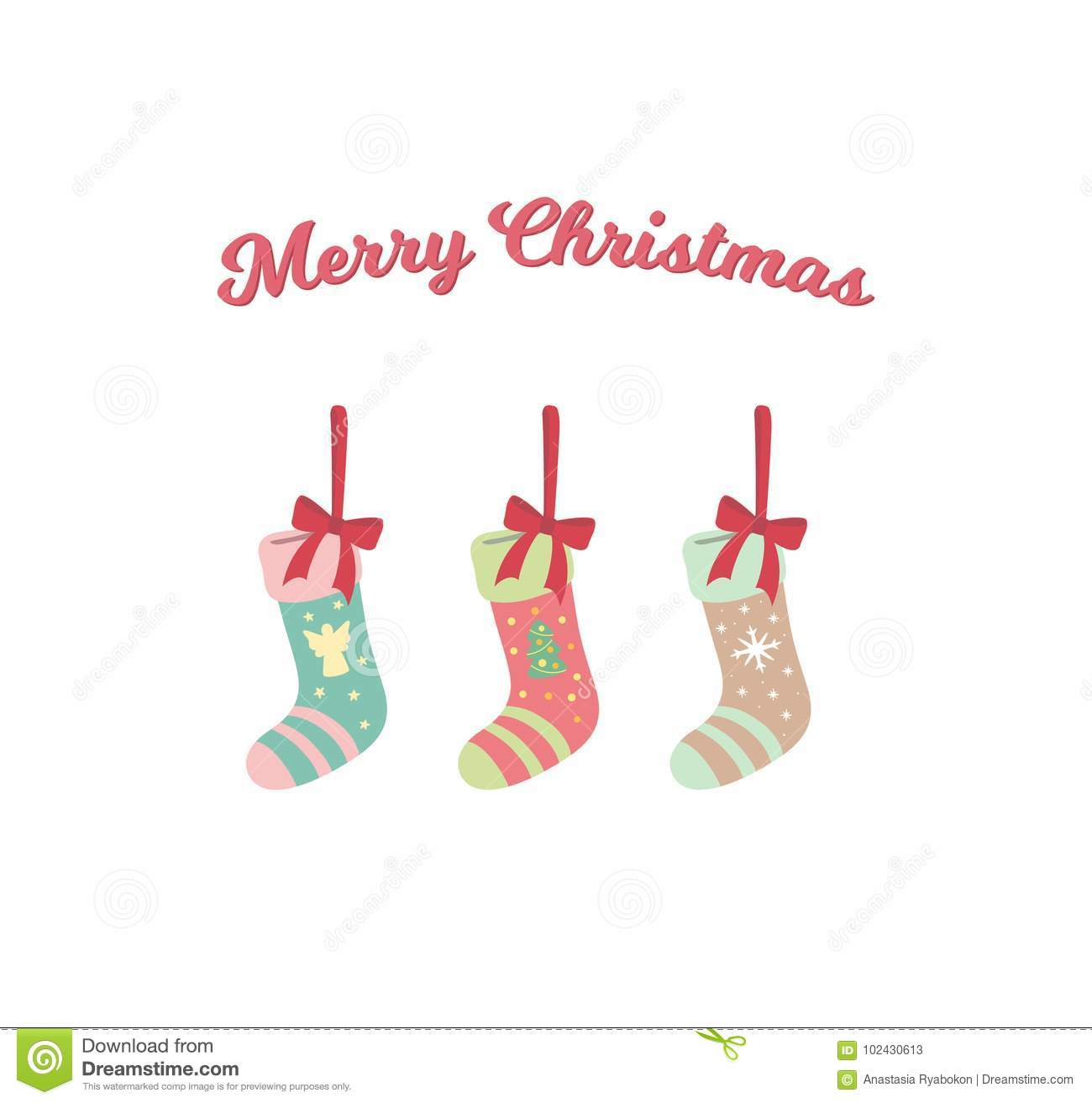 Cute Christmas Socks Hanging With Bows Vector Stock Vector