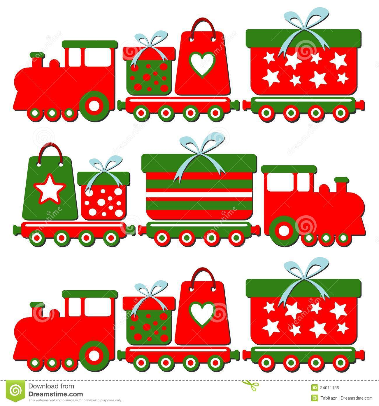 Cute christmas steam train with gift boxes illus stock