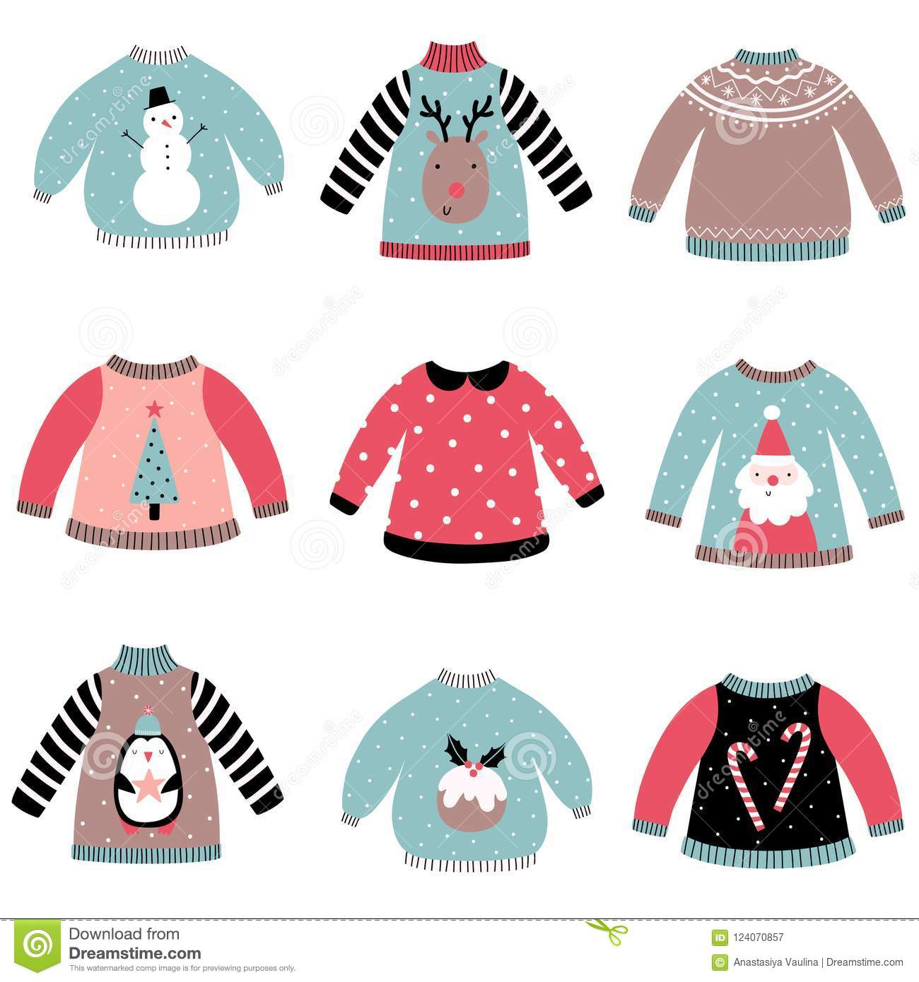e92a4d40adf8 Cute Christmas Sweaters Set. Stock Illustration - Illustration of ...