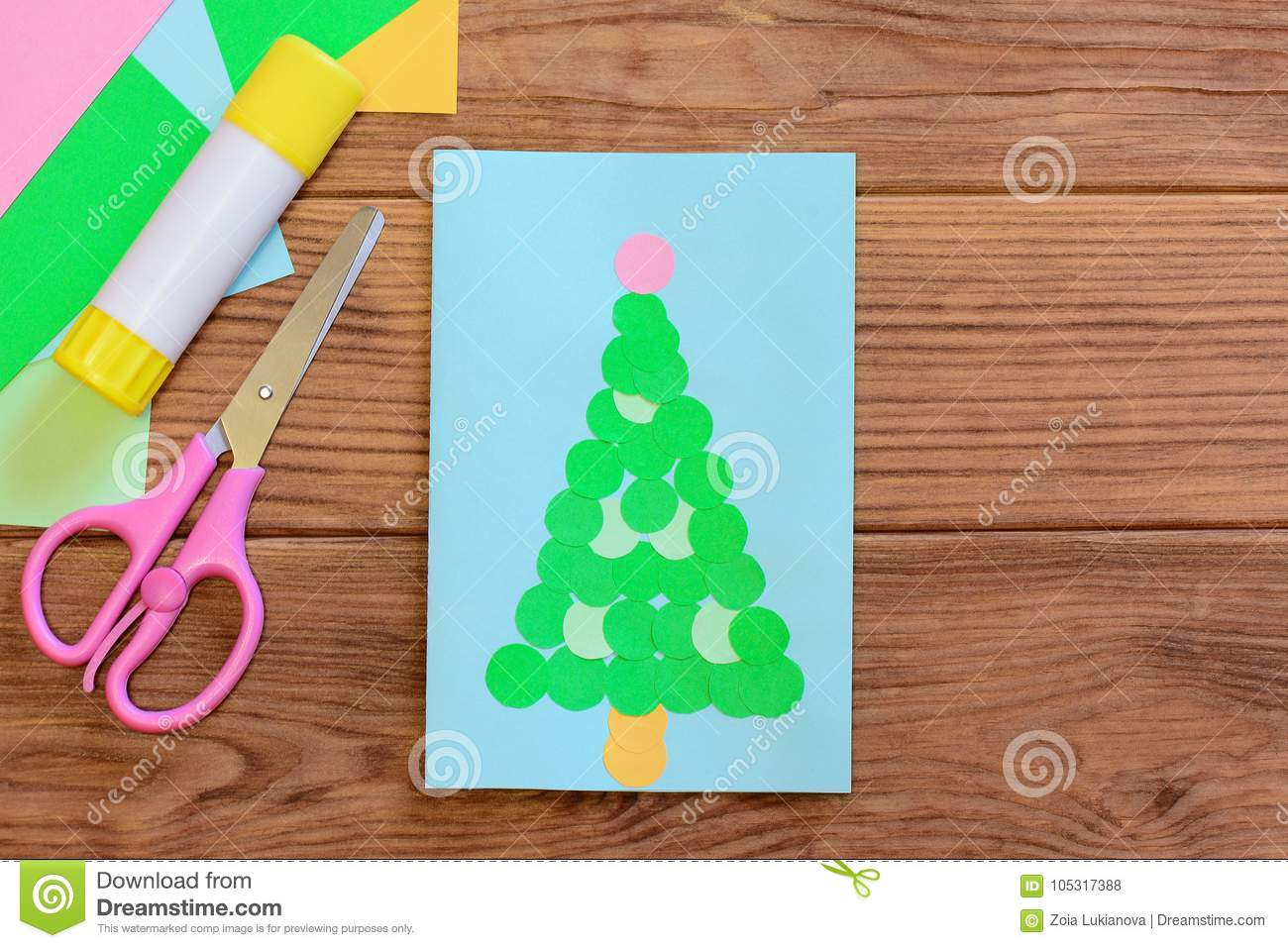 Cute Christmas Tree Card Design Christmas Greeting Card Colored