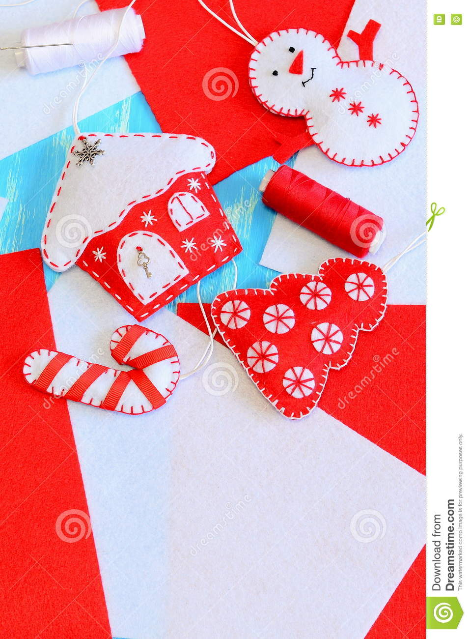 Felt House With Hearts Ornament, Tools And Materials For ...