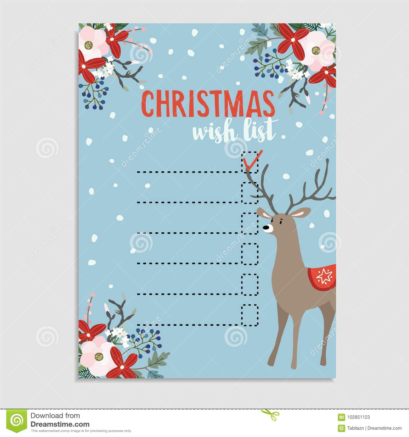 Cute Christmas Wish List With Deer Winter Floral Decoration And
