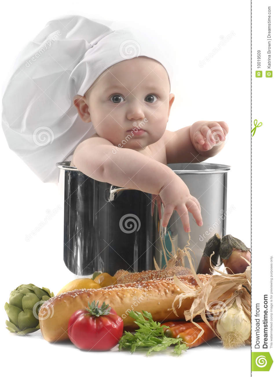 Cute chubby baby chef in a cooking pot royalty free stock images image 10019509 - Stylish cooking ...