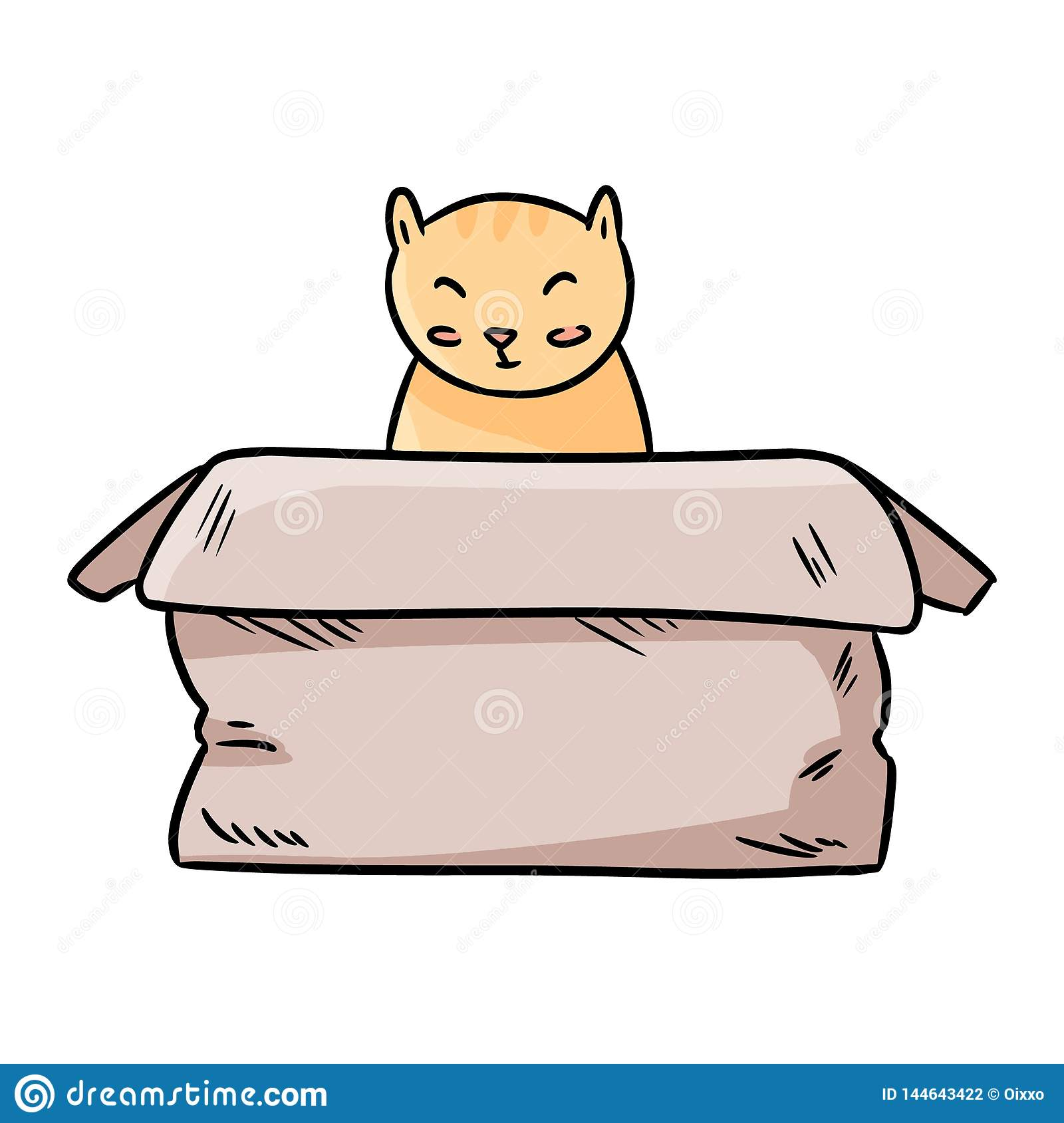 Cute chubby cat sitting in the paper box thin line cartoon image