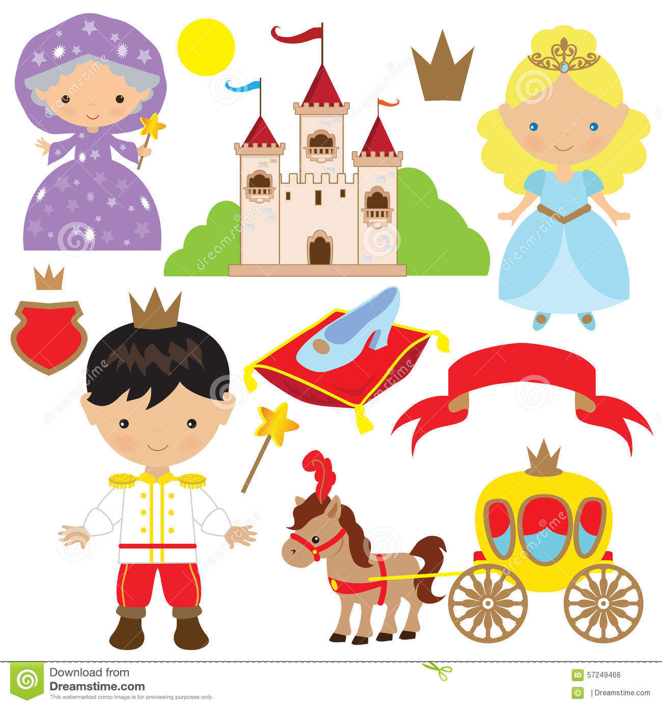 Cute Cinderella Fairytale Vector Illustration Stock Vector