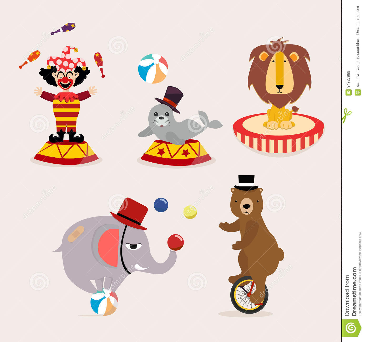 Cute Circus Character Collection Stock Vector Illustration Of