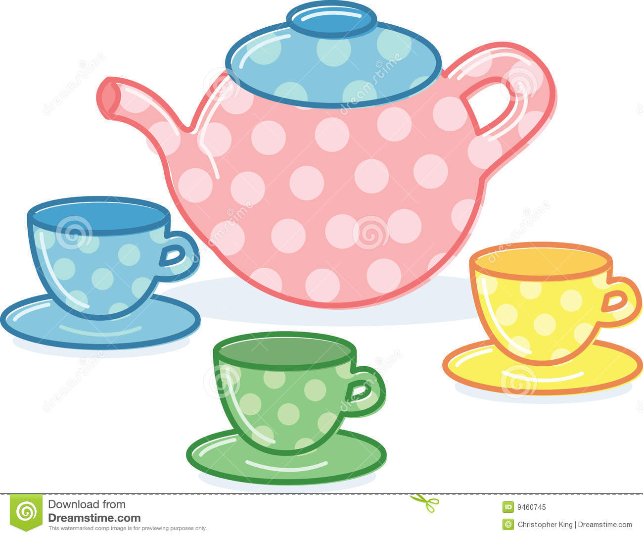 Cute Classic Style Tea Pot And Cups Illustration Royalty Free Stock ...