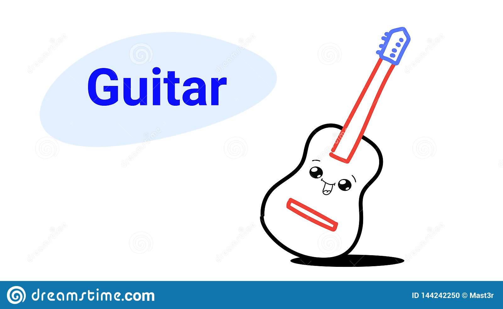 Cute Classic Wooden Guitar Cartoon Comic Character With