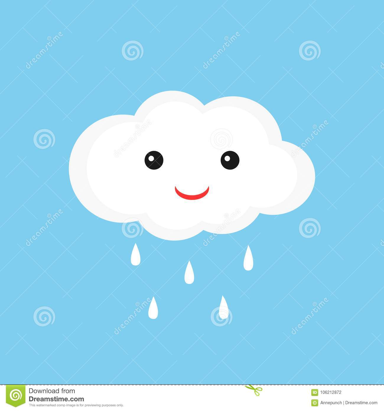 Cute Cloud With Smiley Face And Raindrops Stock Vector
