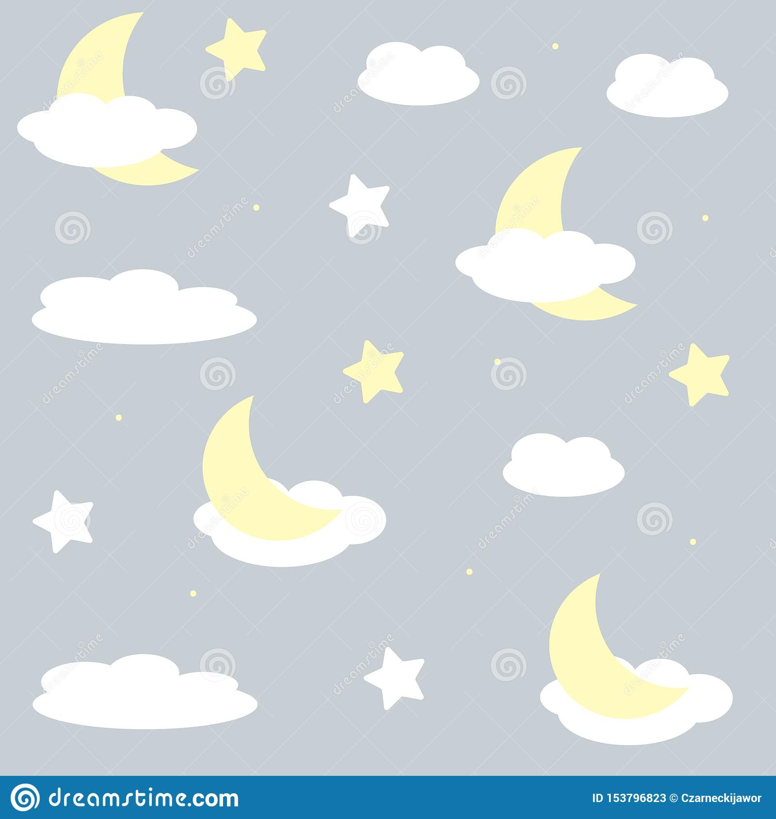 Nice seamles pattern for children. Vector illustration with stars and clouds.