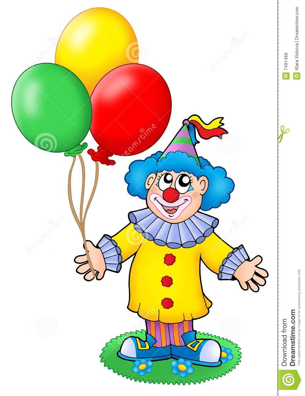 Cute clown with balloons stock illustration. Illustration of ...