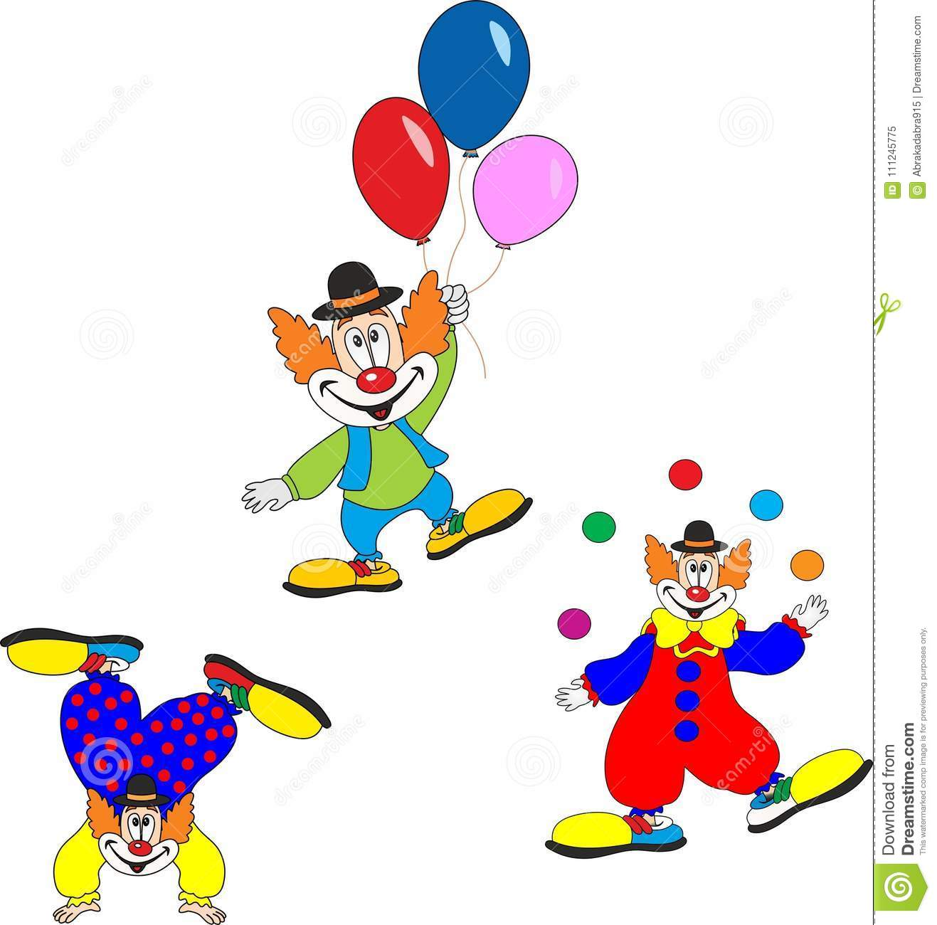Cute Clown Character Design Set. Birthday Or Carnival Party ...