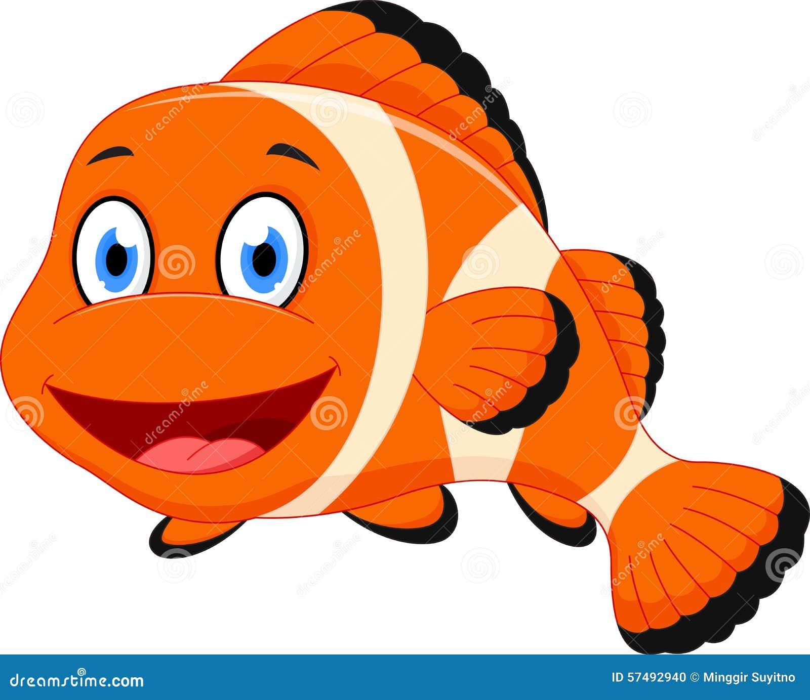 cute clown fish cartoon stock vector image 57492940