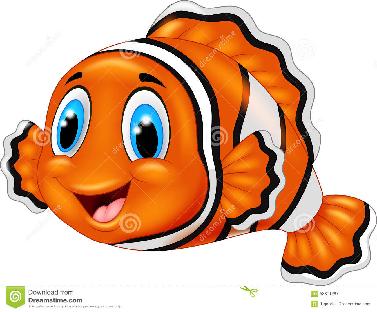 cute clown fish cartoon cartoon vector cartoondealer com clownfish clipart black and white Clownfish Coloring Pages