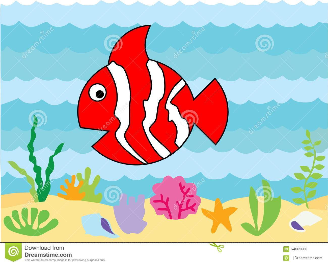 Cute Clownfish Cartoon Character Stock Illustration - Illustration ...