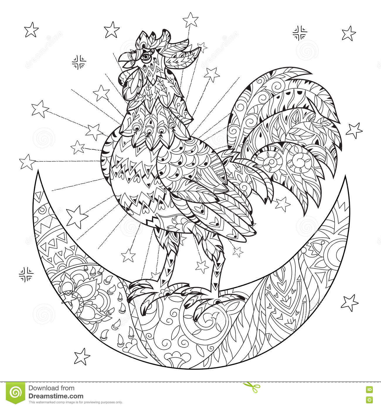 half moon coloring pages - cute cock rooster on christmas half moon stock vector