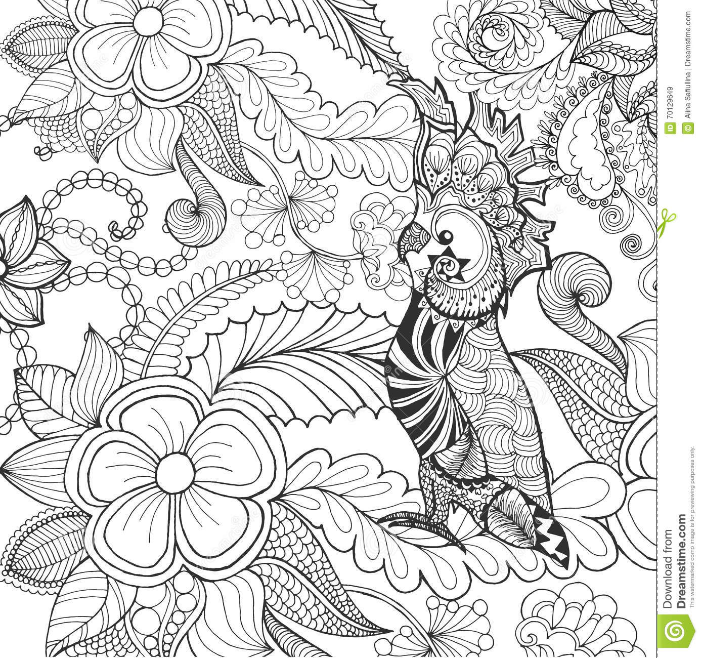 Cute Cockatoo Coloring Page Stock Vector Illustration of boho book 70129649