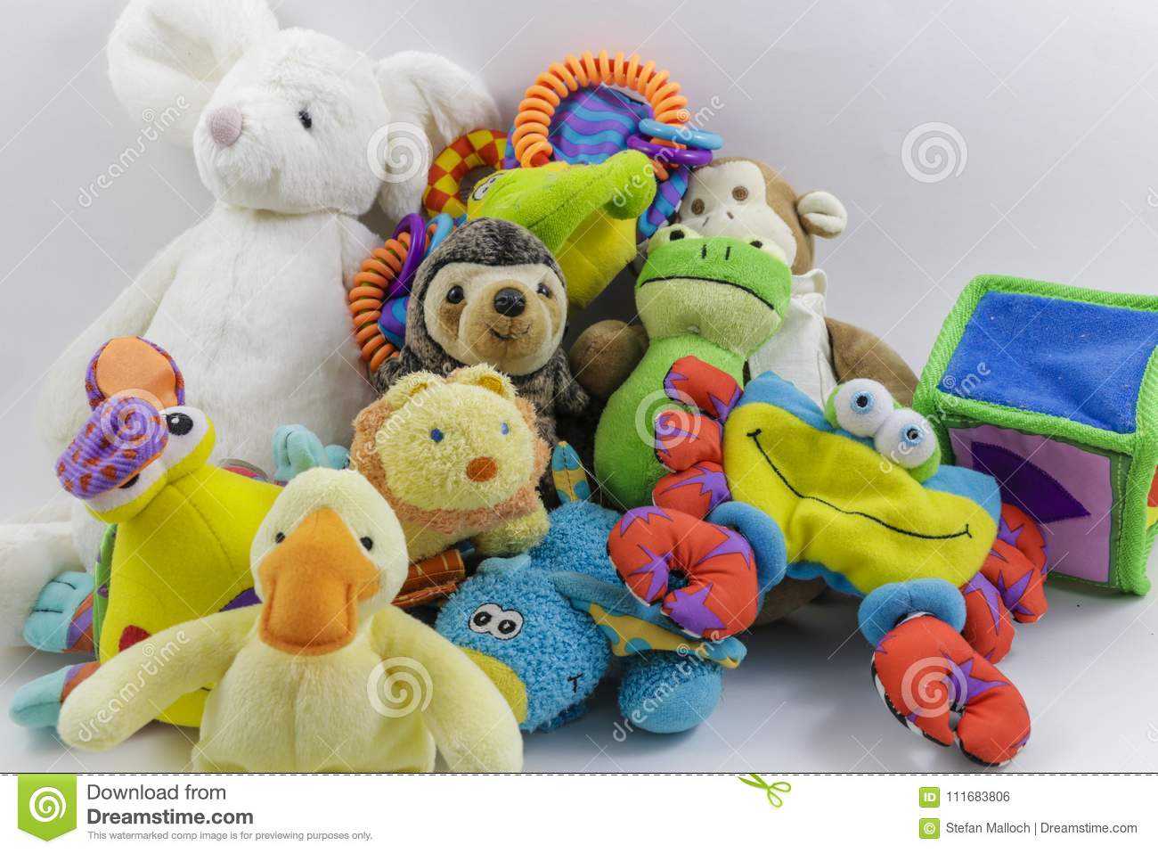 Cute Collection Of Children S Stuffed Animals And Toys Stock Photo