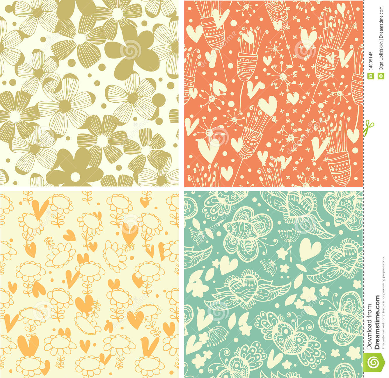 Download Cute Collection Of Floral Patterns  Set Of Beautiful Country Backgrounds Stock Illustration - Illustration of baby, flower: 34835145