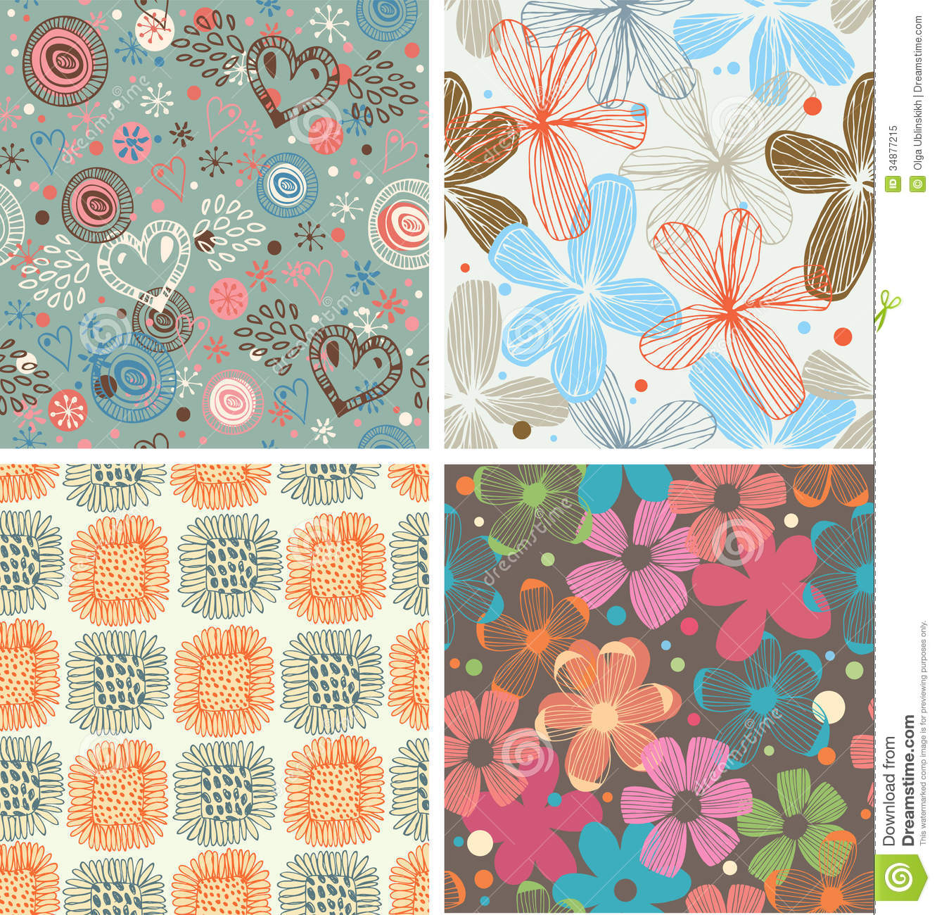 Cute collection of floral patterns Set of beautiful unusual backgrounds with flowers