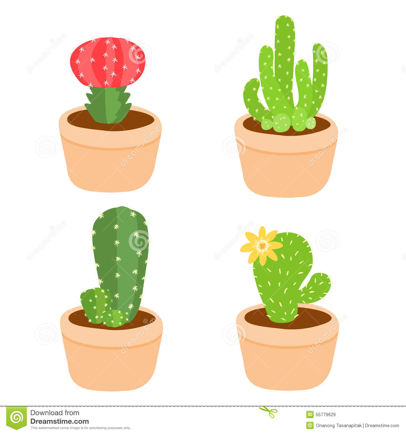 cute and colorful cactus pot stock vector image 55779629